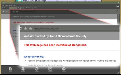 Trend Micro blocks Steam Community home page
